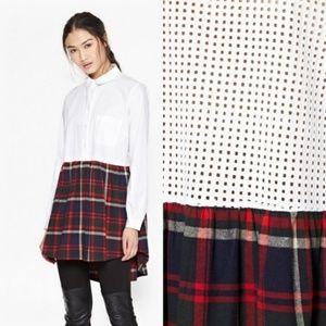 FCUK Castle Check Oversize Sheer Back Shirt Dress